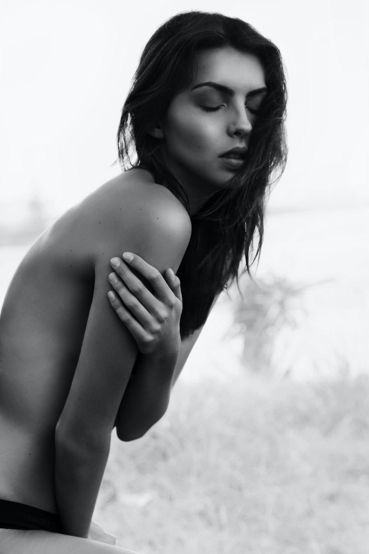 topless woman