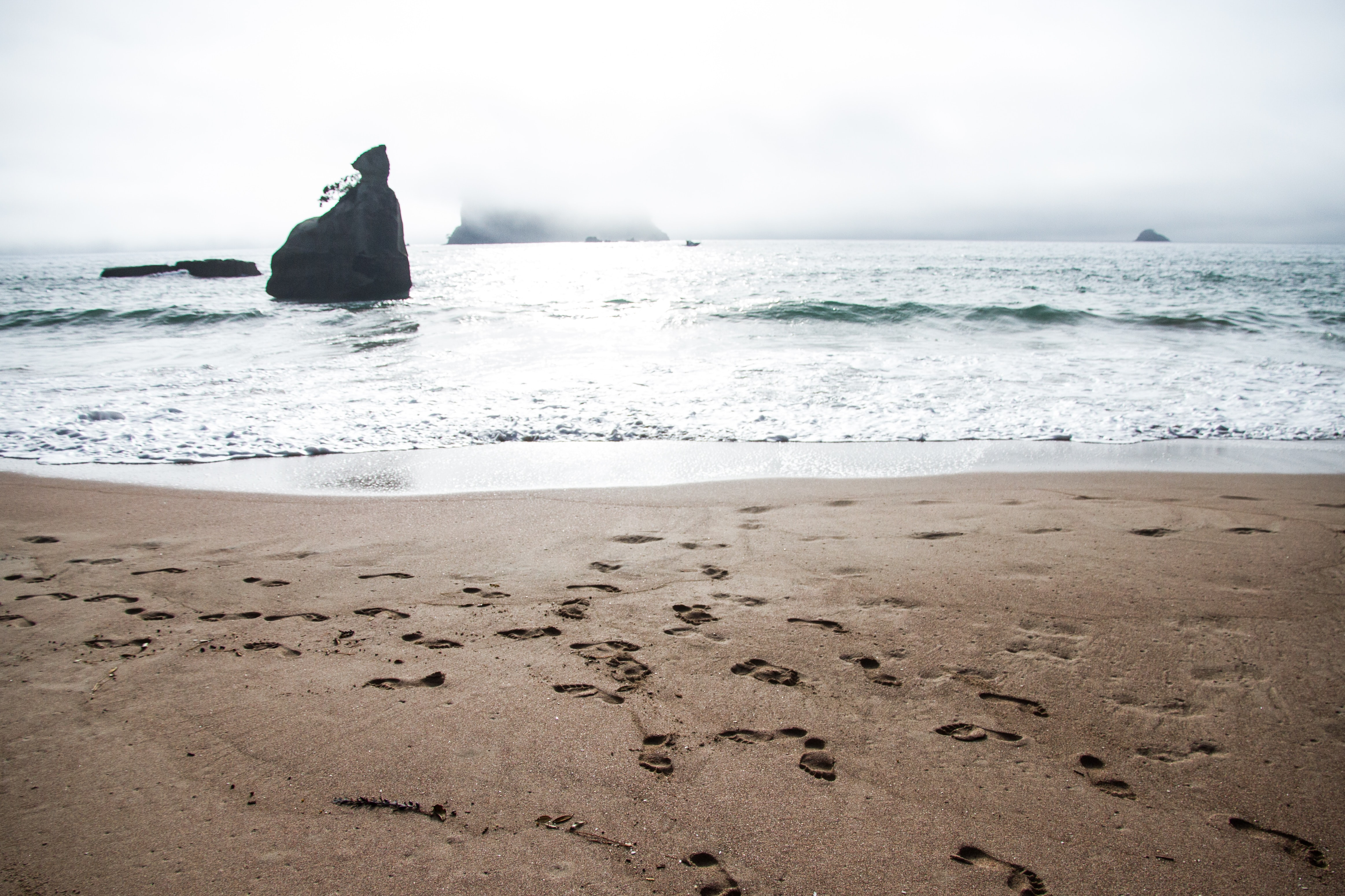 Footprints on the sand beach by the ocean at Cathedral Cove