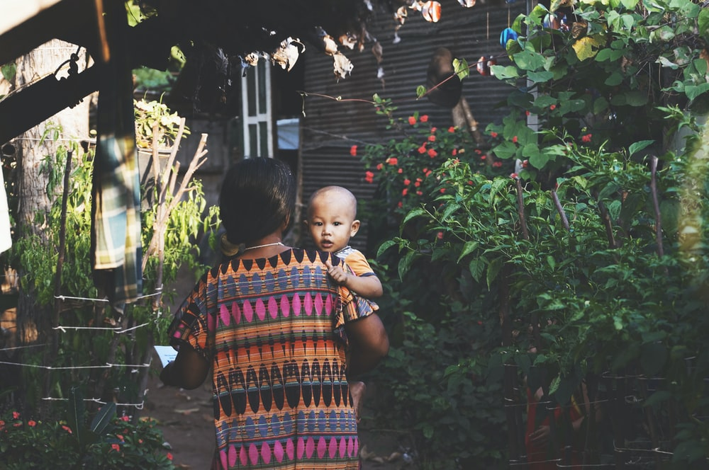 woman carrying child near green leafed plants