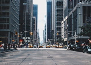 pathway between high rise buildings