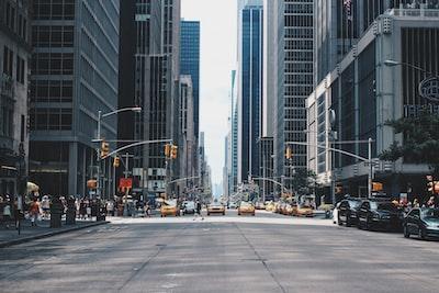 pathway between high rise buildings urban zoom background