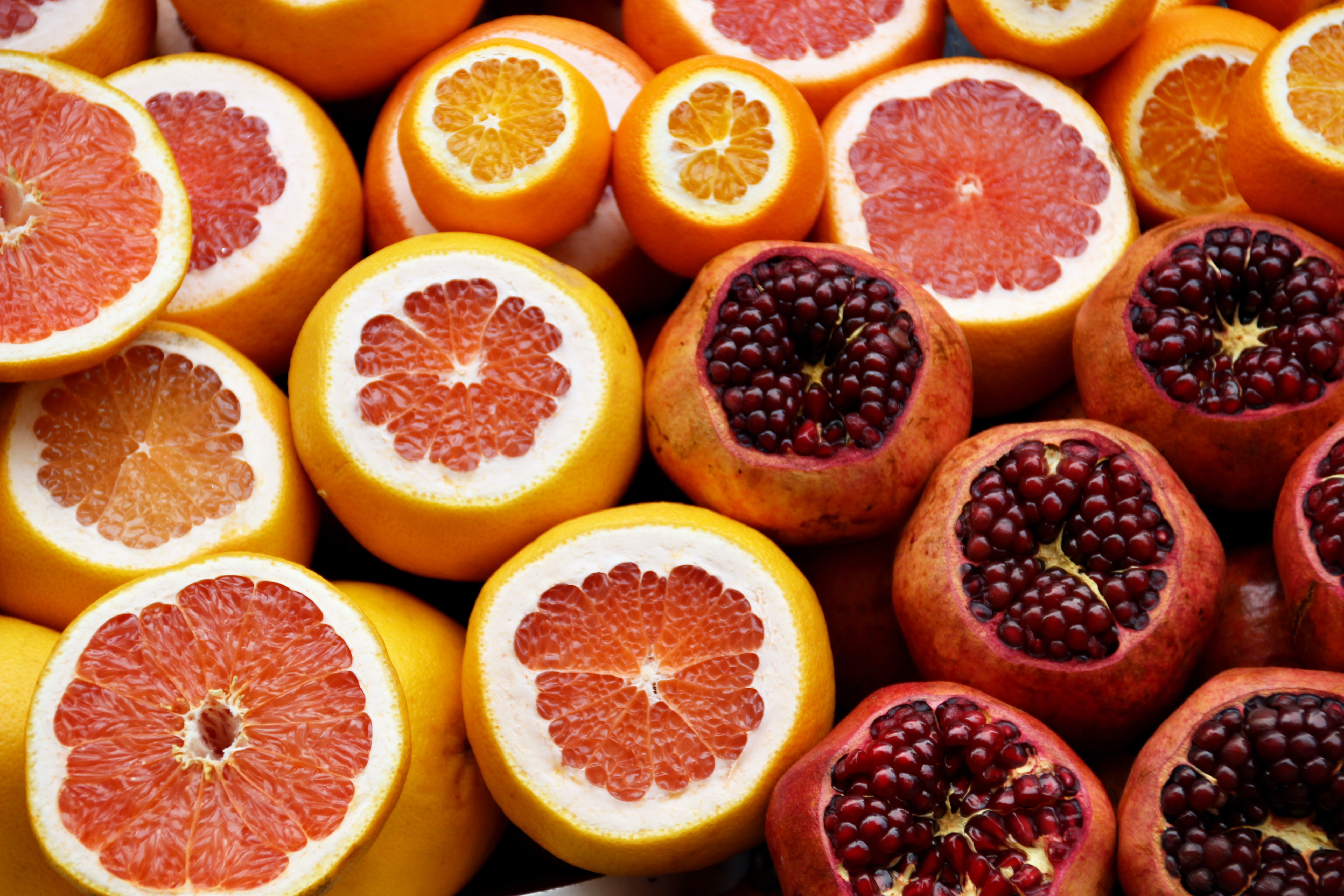 Pomegranate and orange fruits