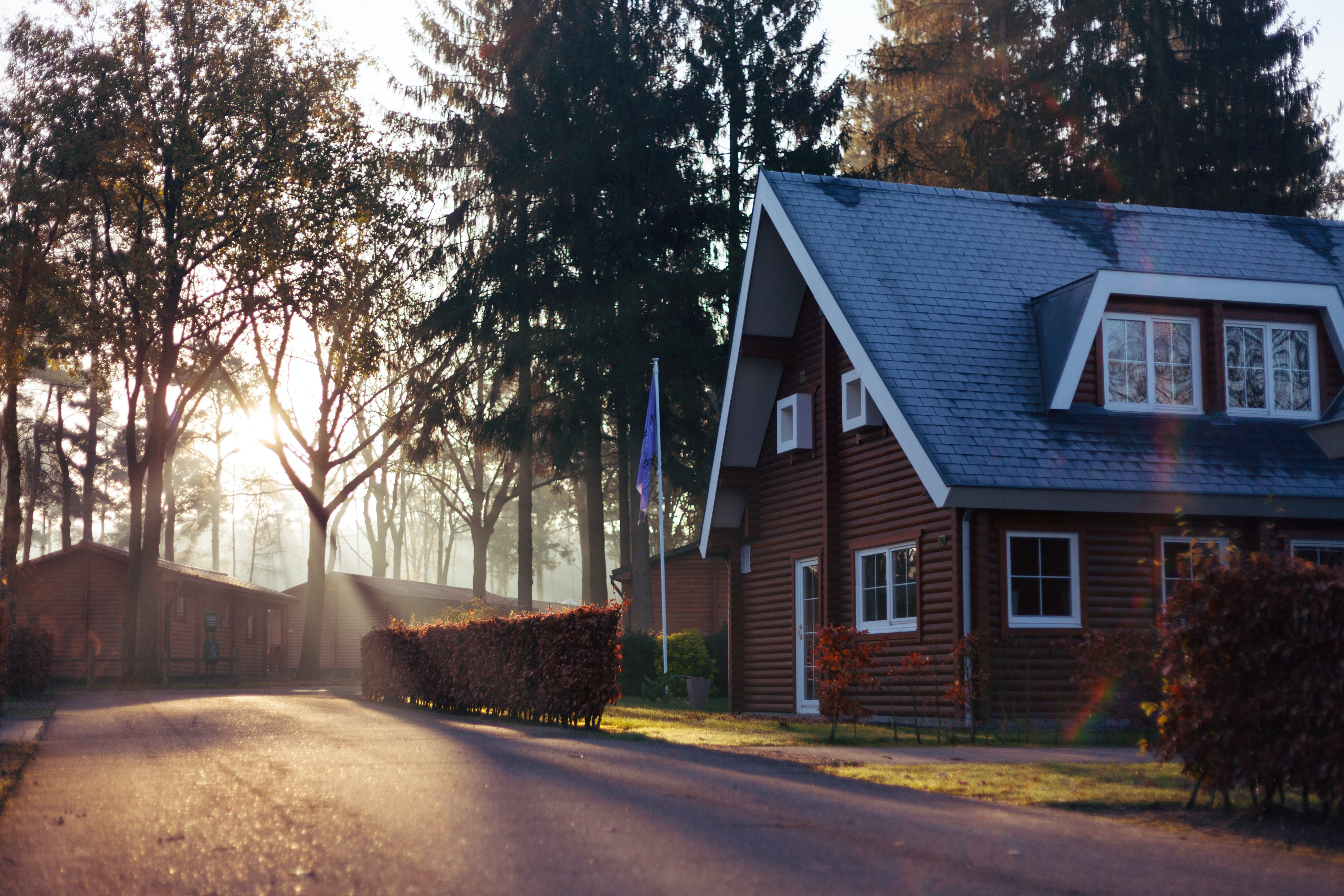 Brown house with blue roof in front of trees with rays of the setting sun streaming through them