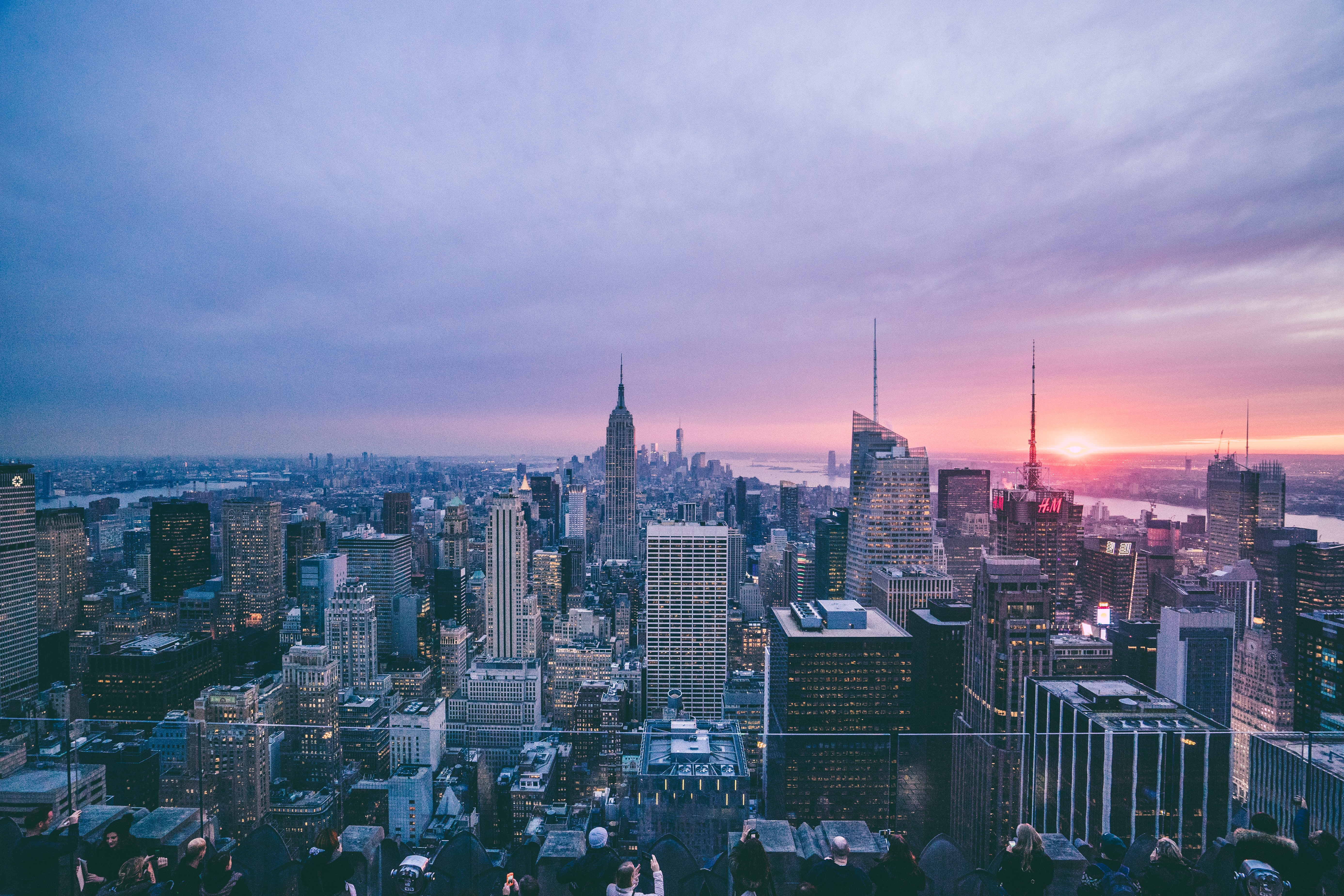 View from the Rockefeller Center on New York City Skyline on an evening