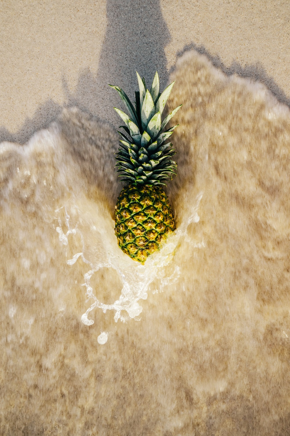 yellow and green pineapple on brown sand