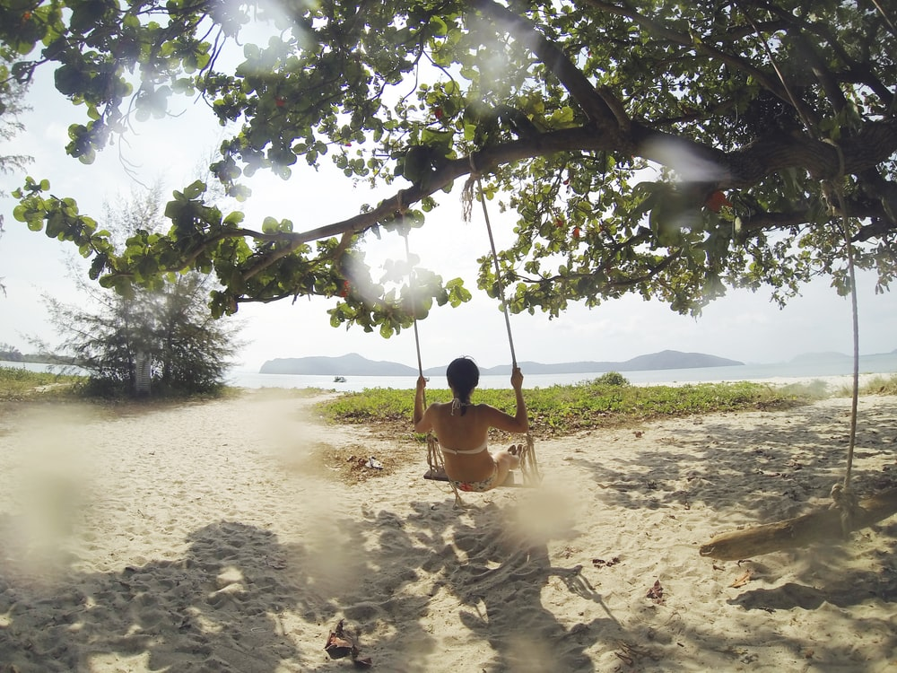woman sitting on swing under green tree facing body of water at daytime
