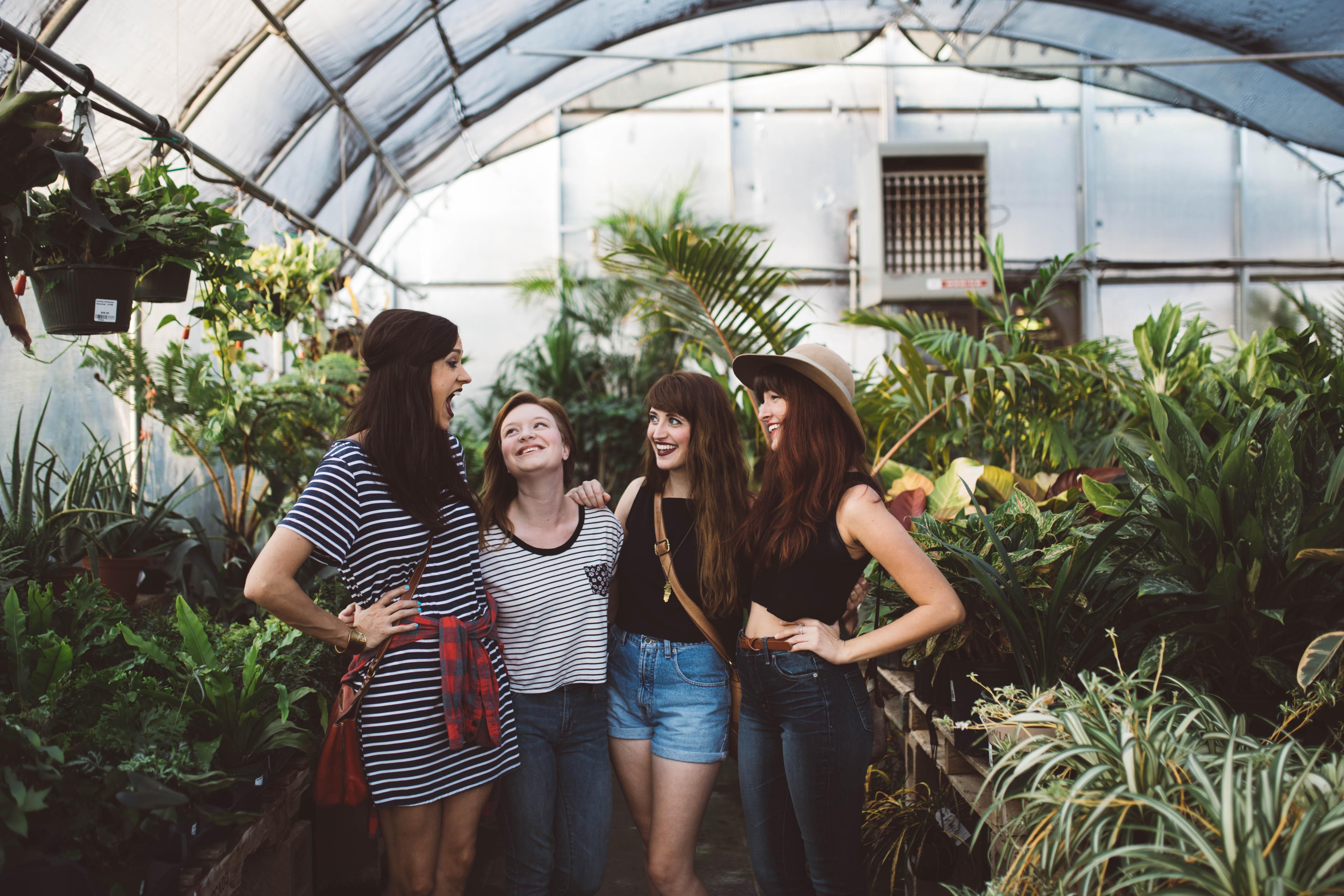for women inside greenhouse