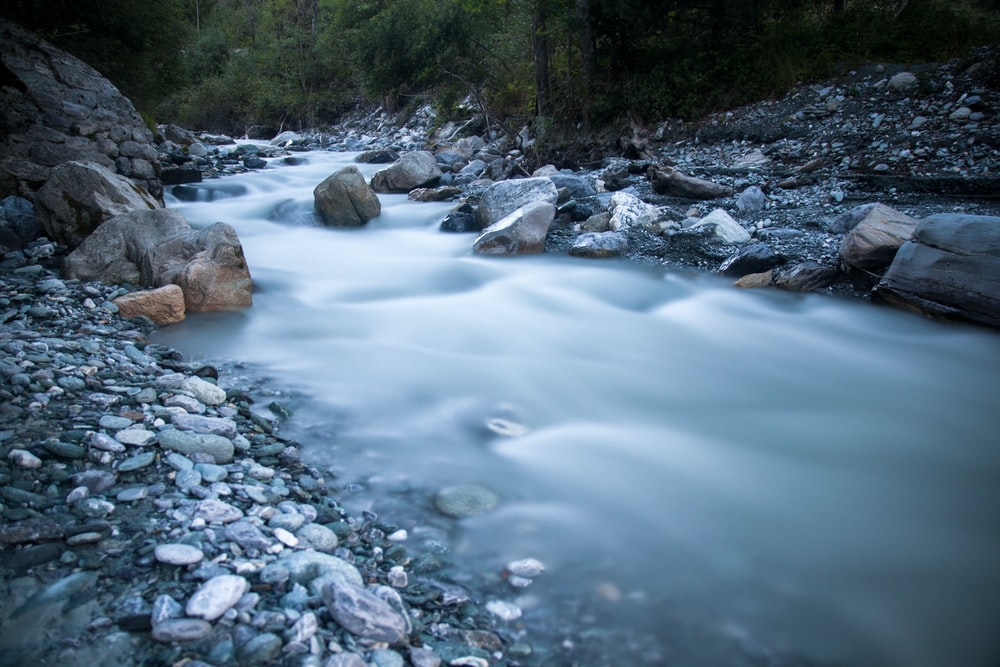 time lapse photography of stream