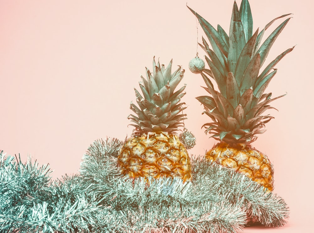 shallow focus photo of two yellow pineapple fruits