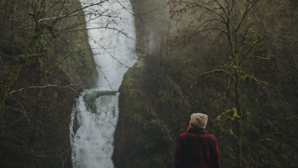 woman looking at the waterfalls