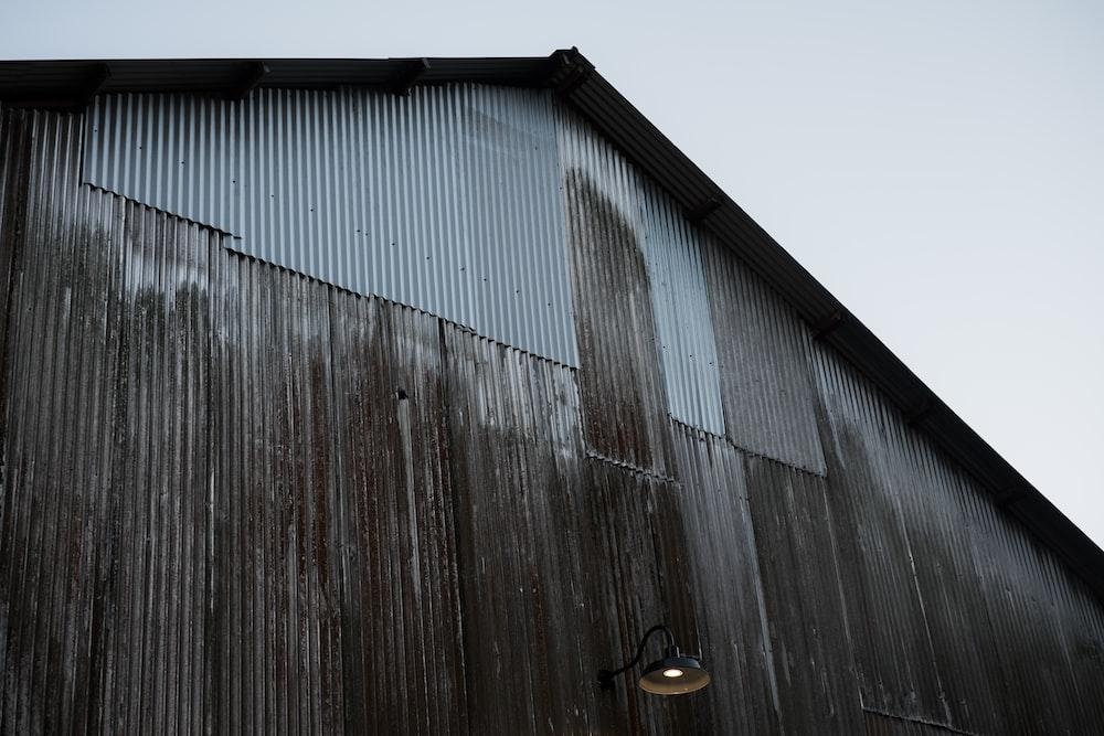 gray corrugated sheet house