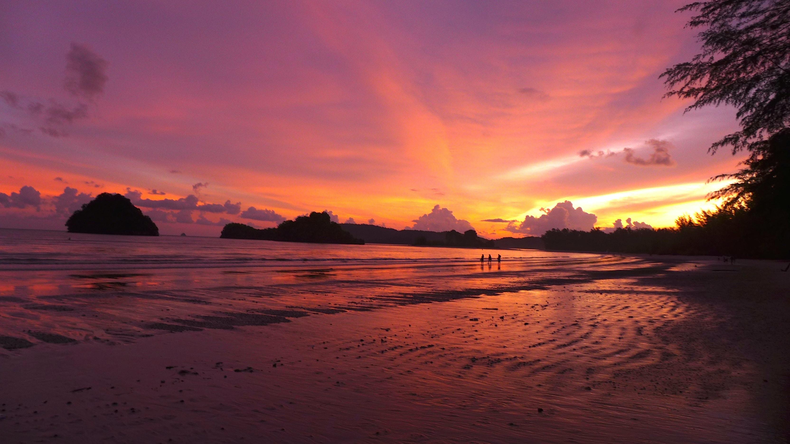 three person near seashore during golden hour