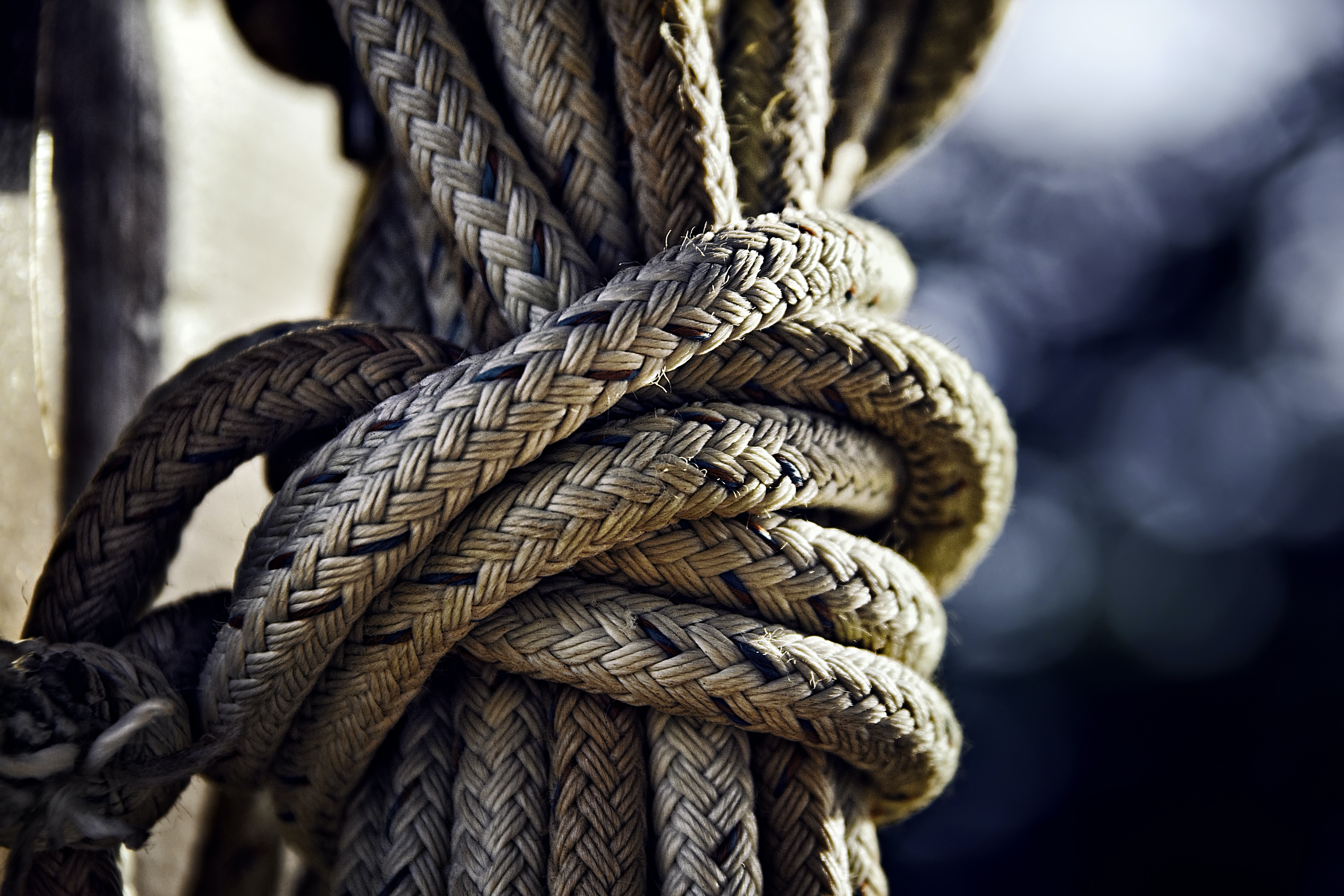Close-up of a knot in a thick rope