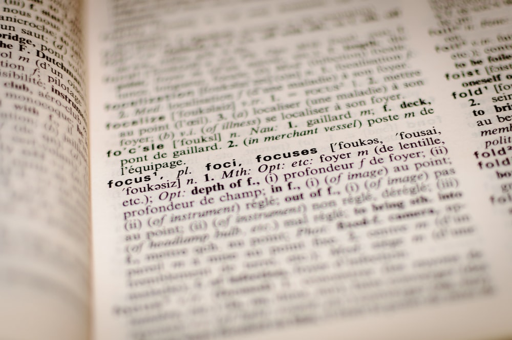 "Close-up of the definition of the word ""focus"" in a French dictionary"