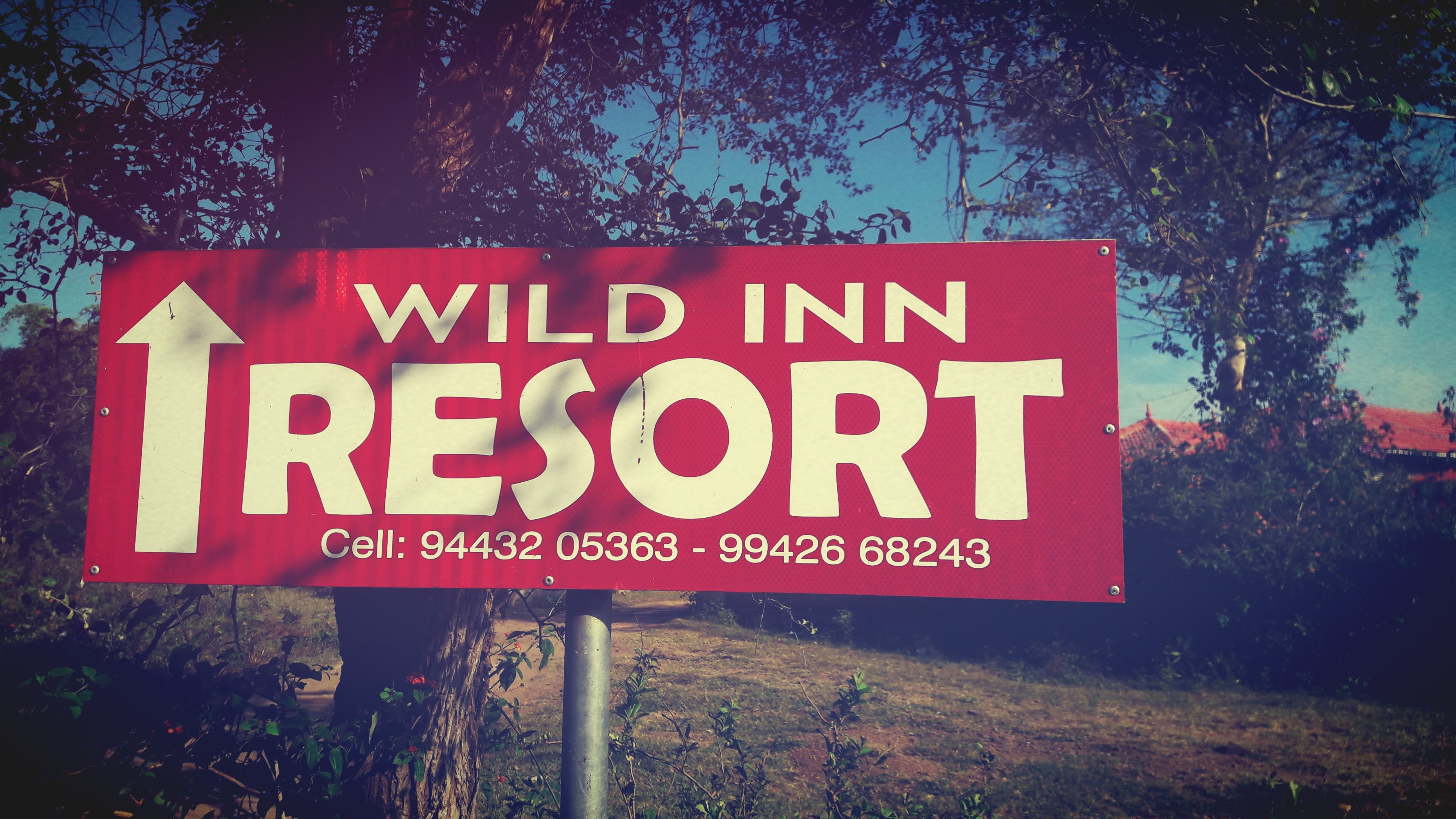 A sign pointing to where the Wild Inn Resort is located.