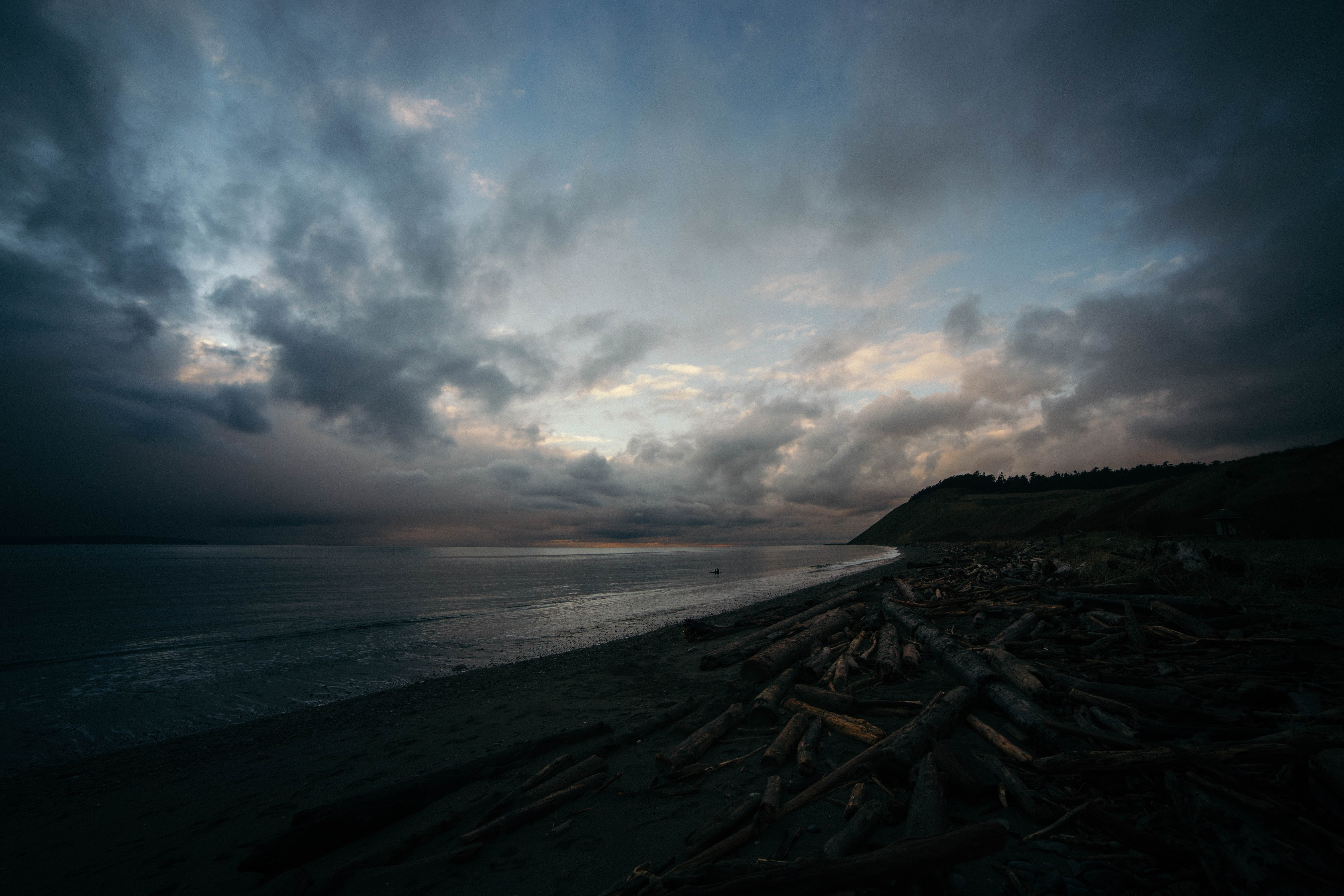 Fort Ebey State Park coastline on a dark cloudy day