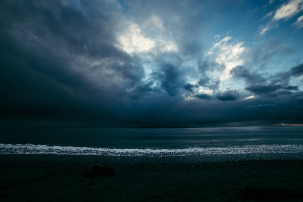 ocean under blue and gray sky
