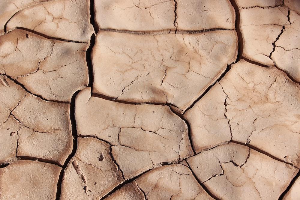 Close-up of cracks in dry dirt