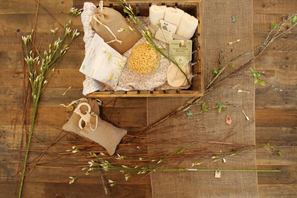 bathroom essentials on wooden crate