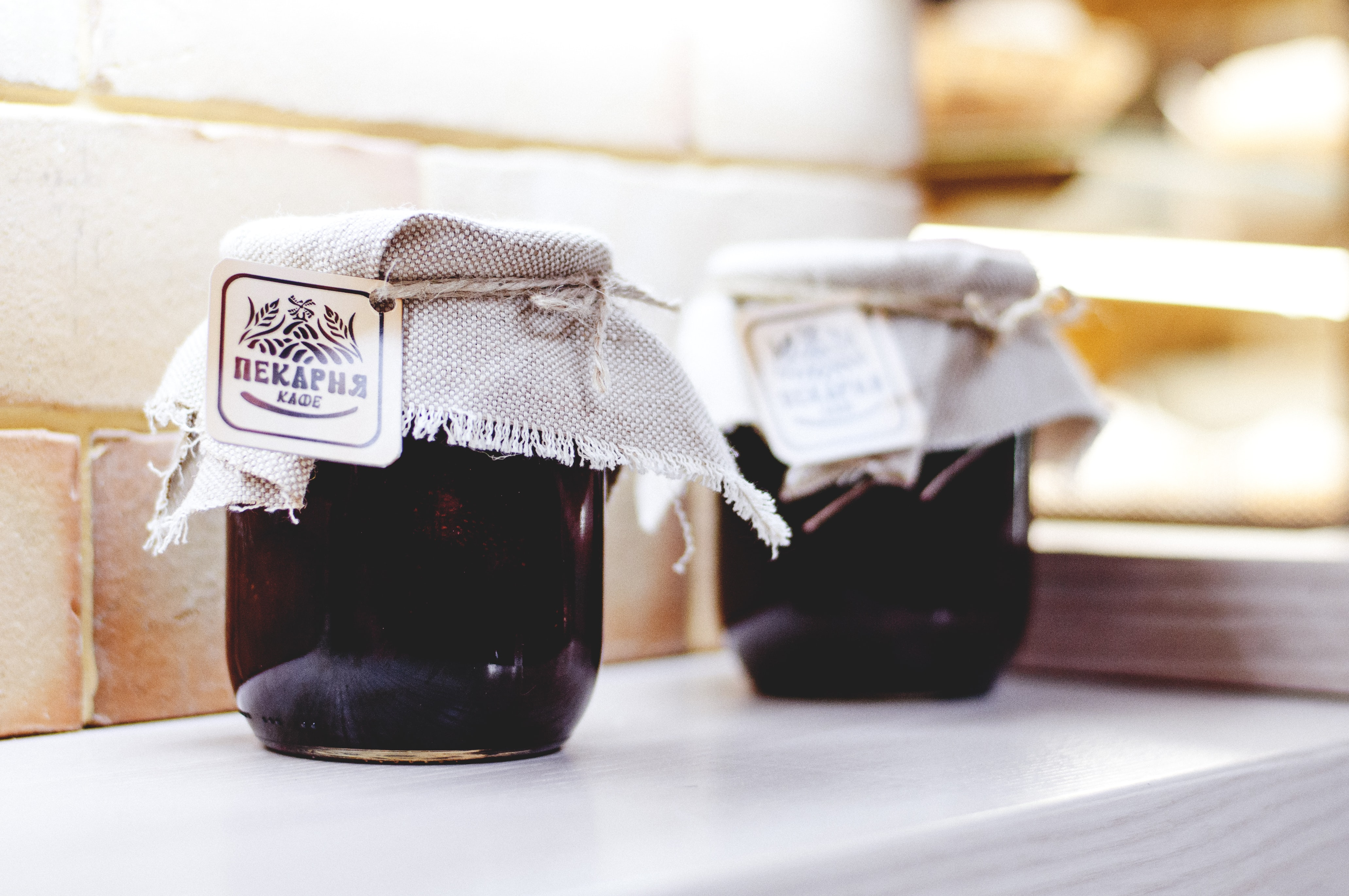 Jars of homemade jelly and fruit preserves