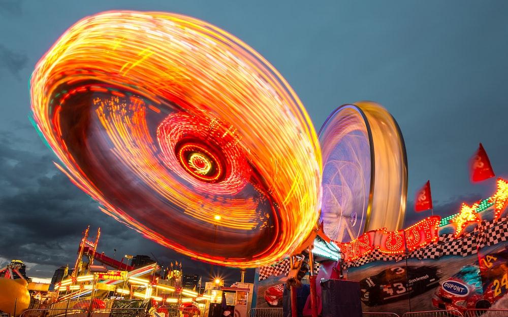 multicolored amusement park ride