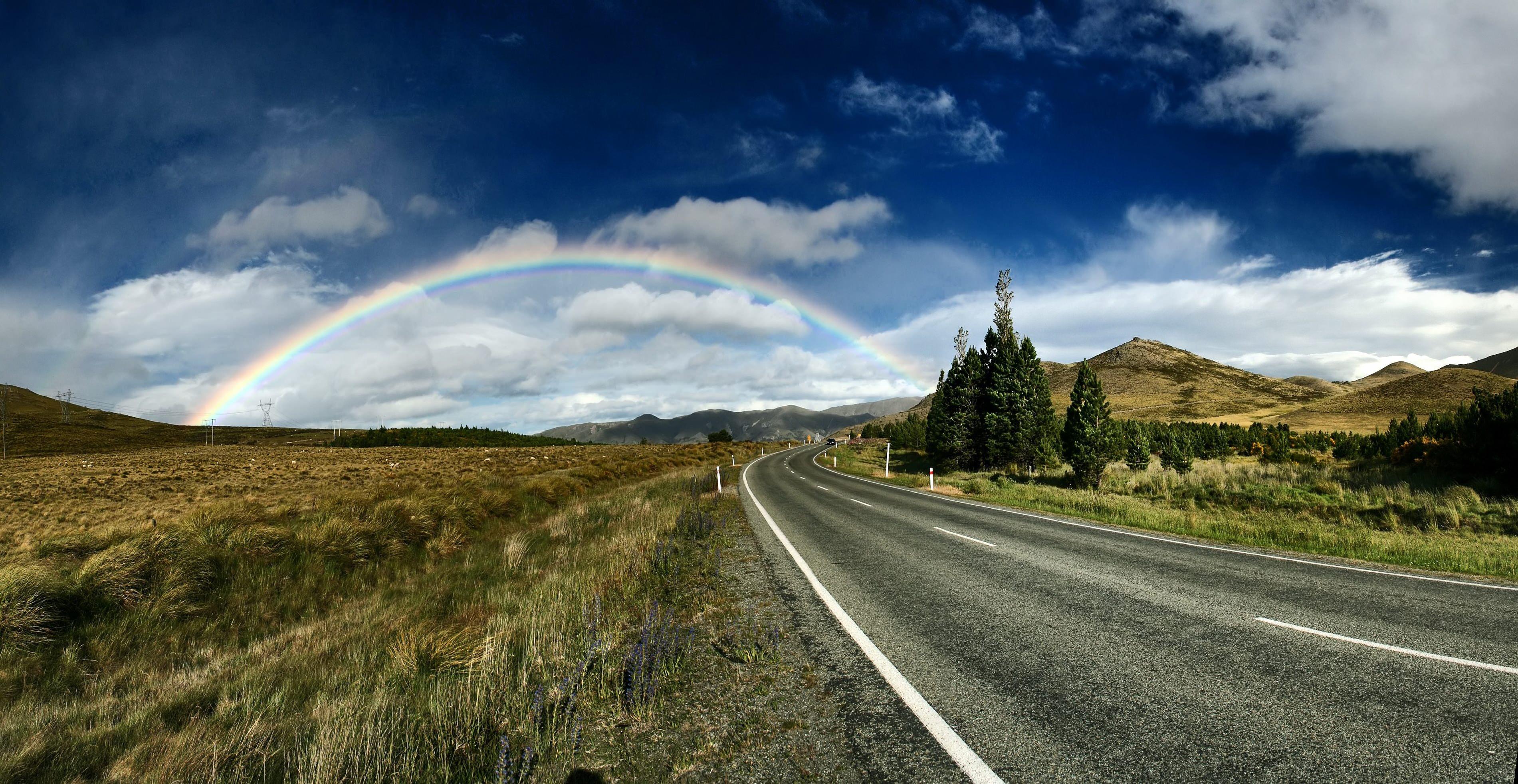 highway near trees and rainbow under blue sky
