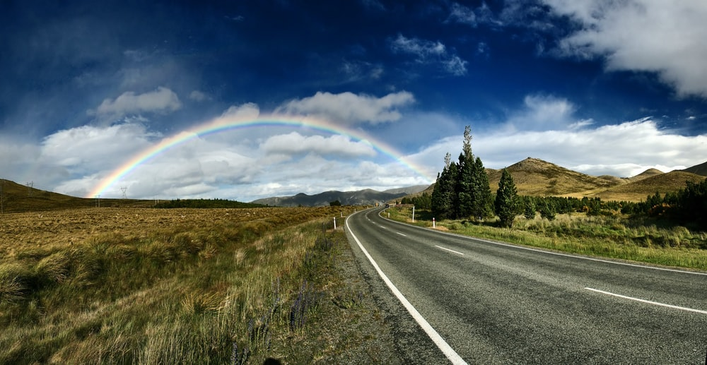 highway near trees and rainbow under blue sky