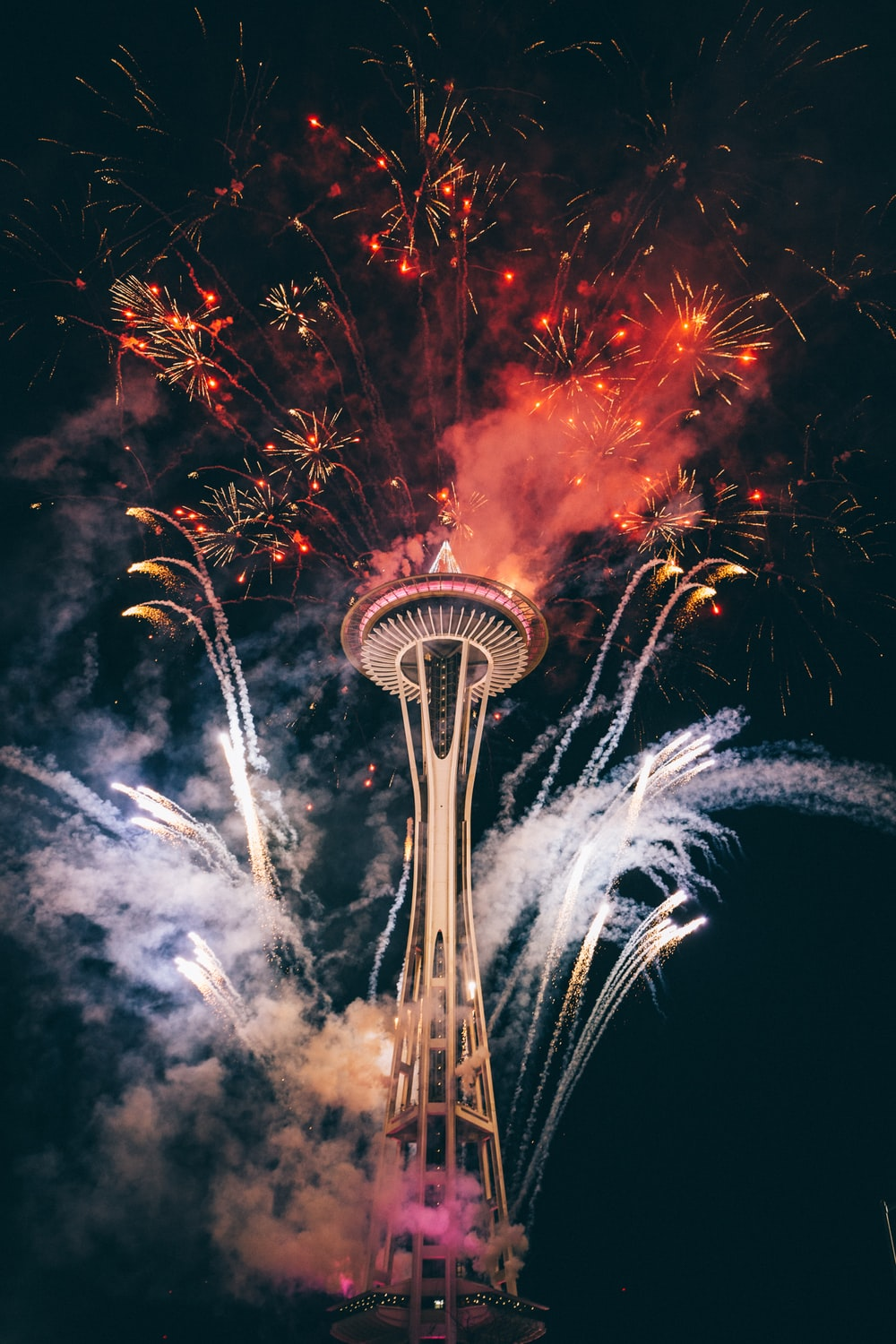 Space Needle, Seattle surrounded by fireworks