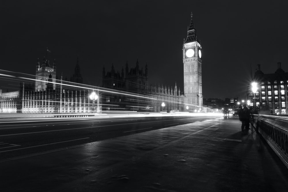 landscape photography of Big Ben London in gray scale