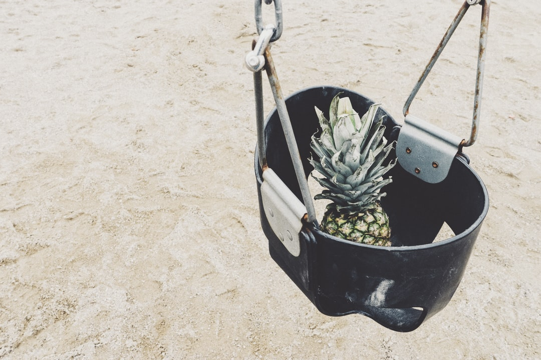 Pineapple in a baby swing at local park with sand