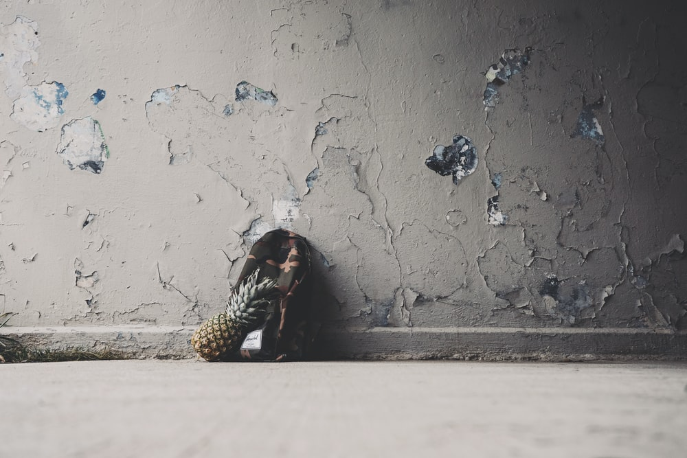 pineapple and backpack on floor near wal