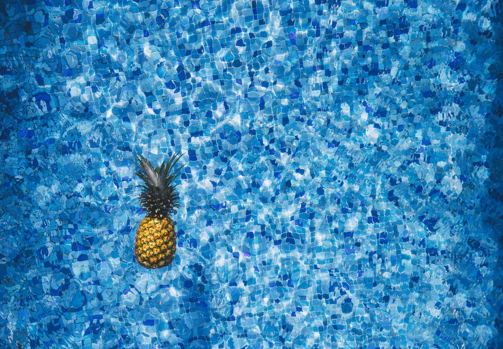 aerial view photography of pineapple on body of water