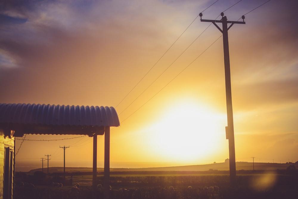 transmission tower during golden hour