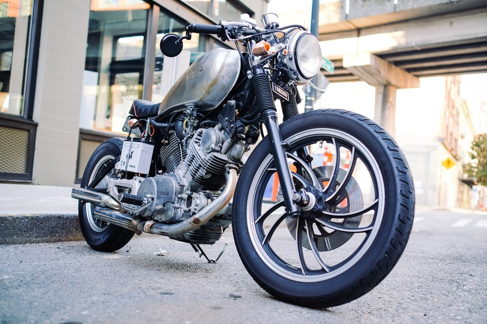 close photography of motorcycle on road