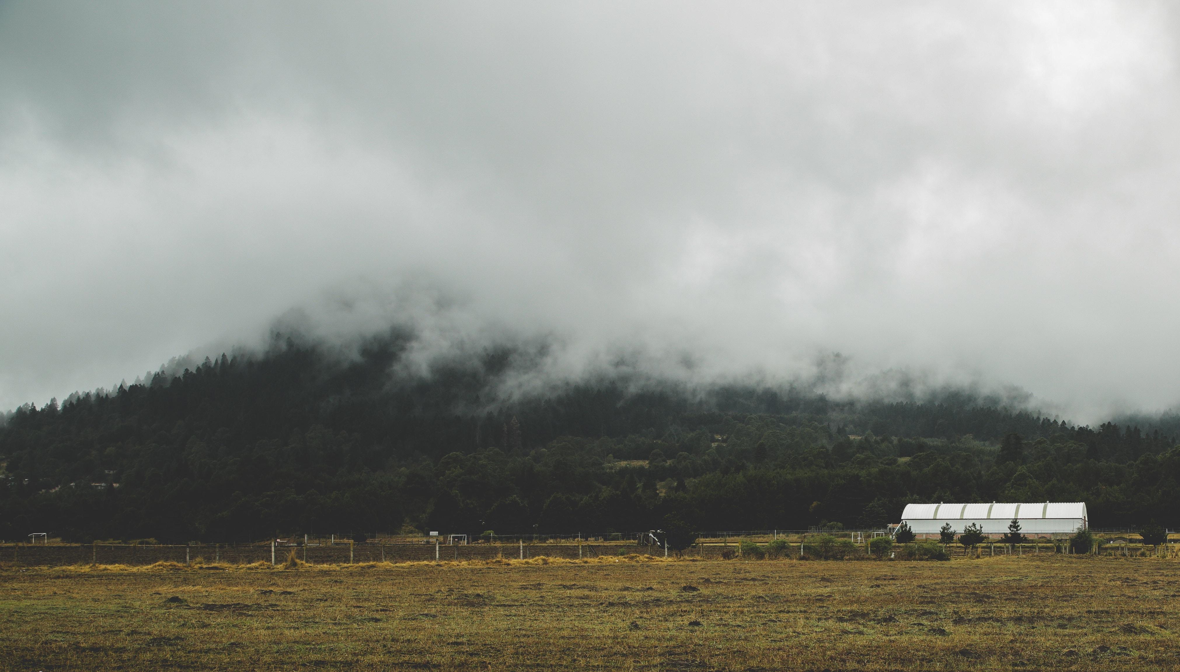 A white building on a field near a fog-shrouded hill