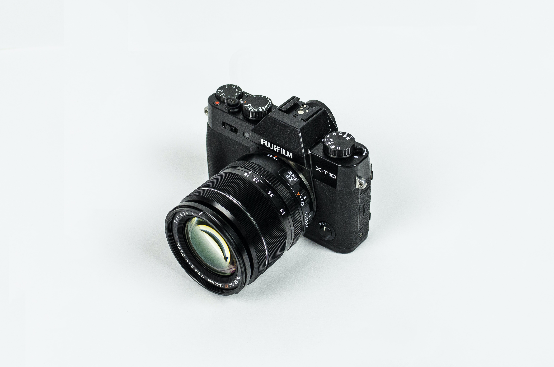 black Fujifilm bridge camera