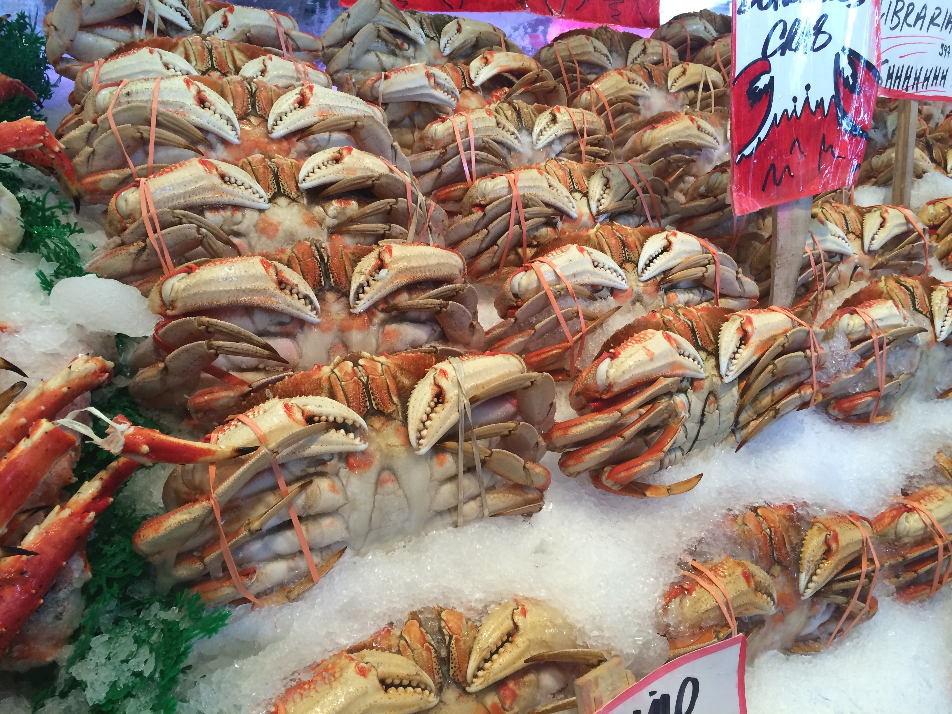 King crabs on ice at a seafood market