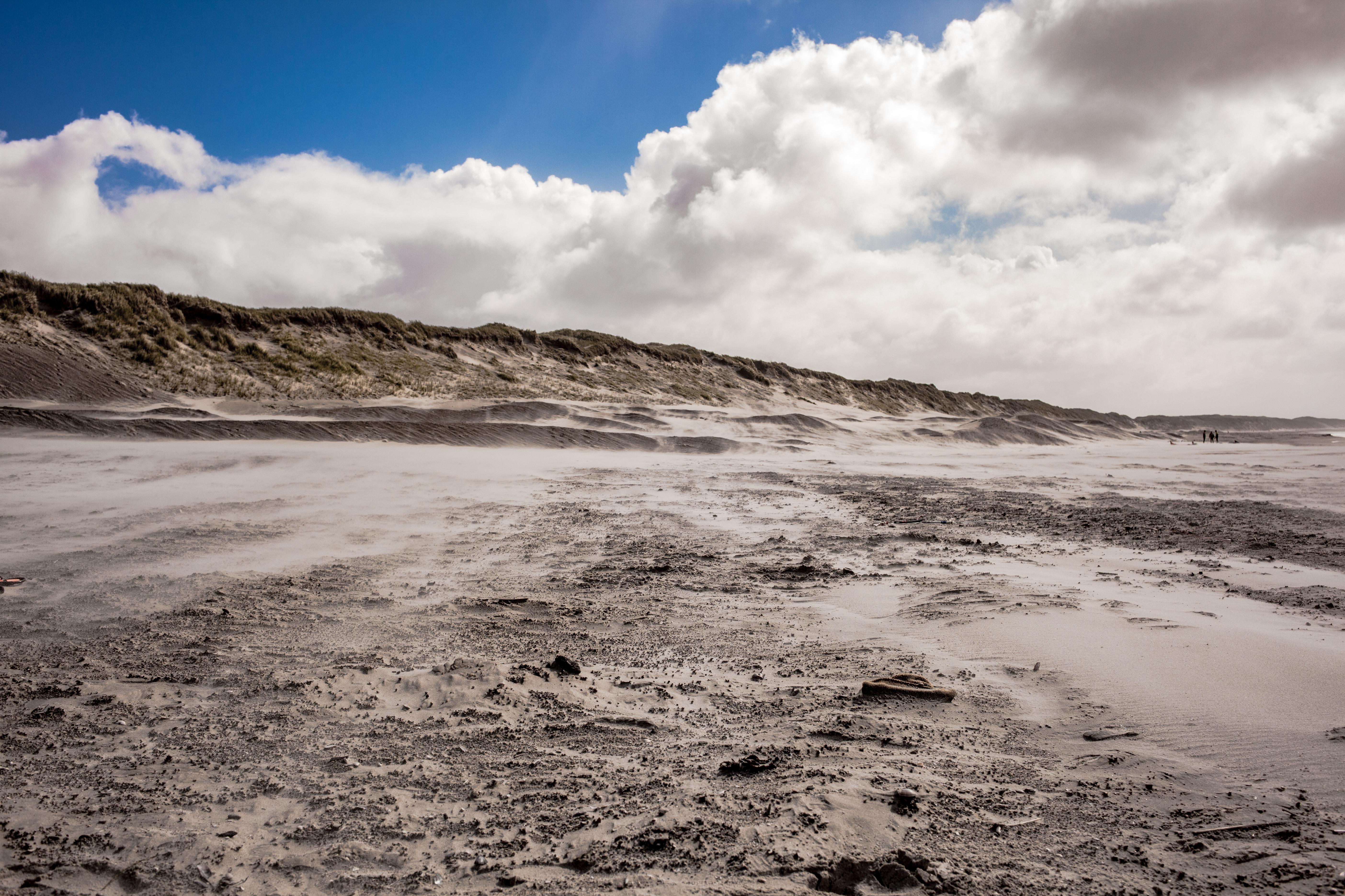 Barren white sand dunes on the beach at Hvide Sande