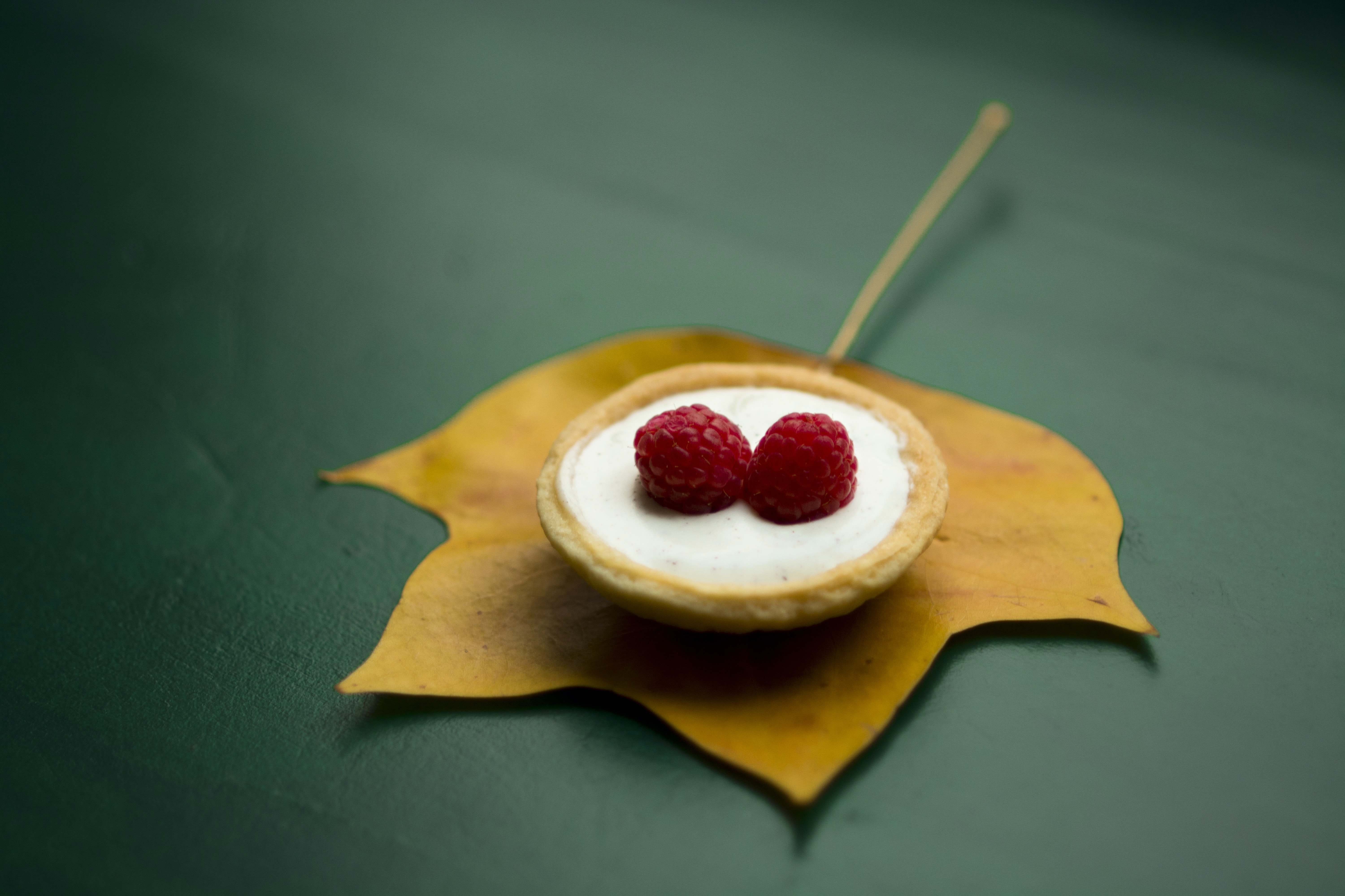 Raspberry pastry on an orangish yellow leaf on a green table