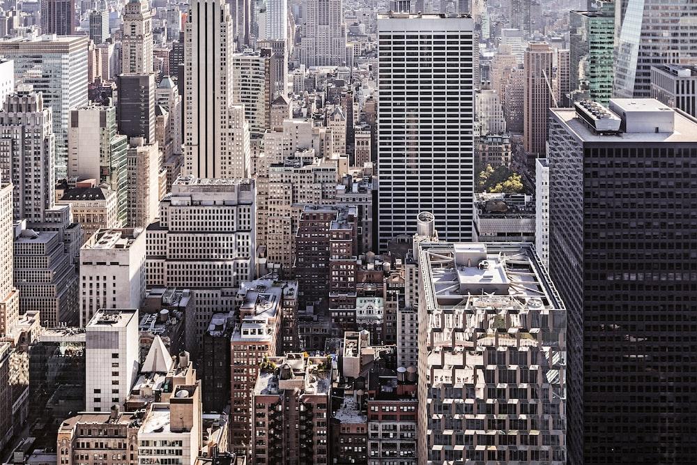 high-angle photography of city skyline
