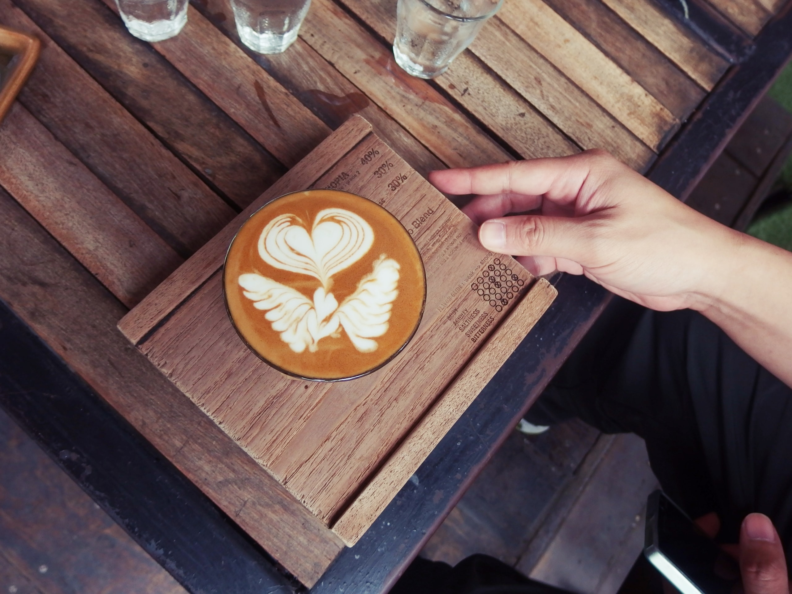 Angel wings and a heart formed the art of a cup of latte served on wood.