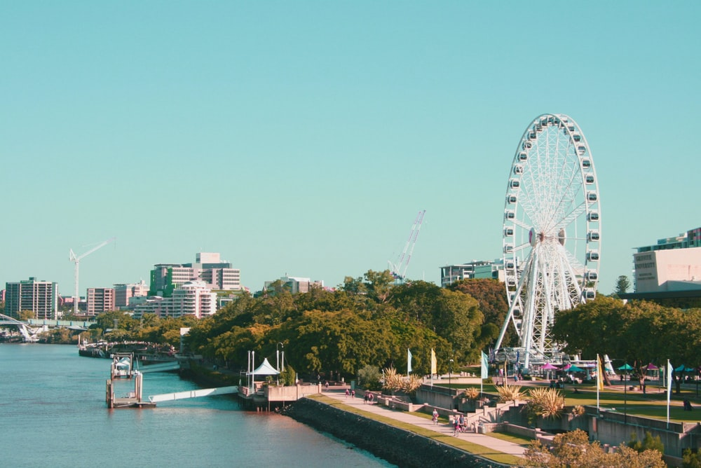 landscape photography of city near river
