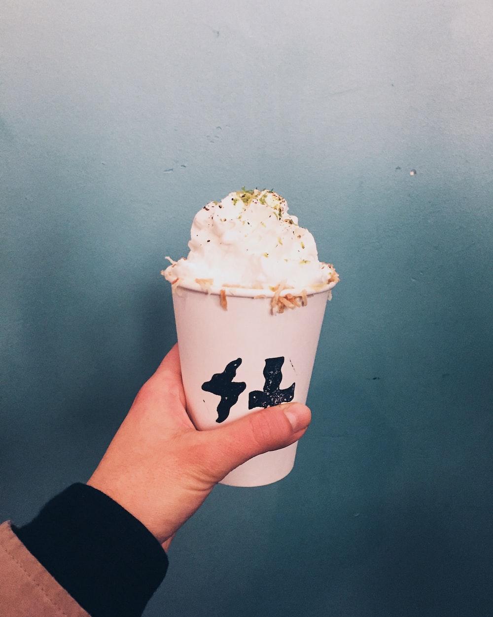 white ice cream on cup