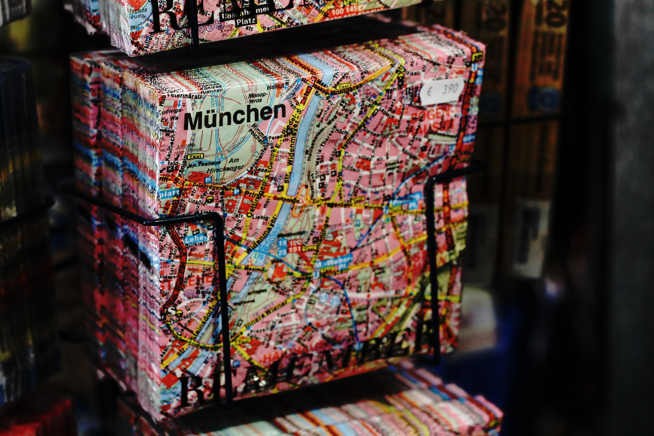 A pack of napkins with the map of Munich printed on them in a souvenir store