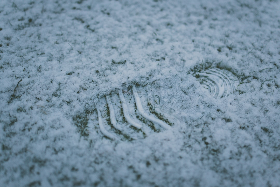 A footprint in the snow