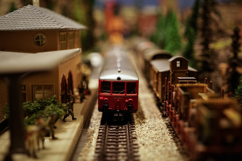 red and gray train miniature