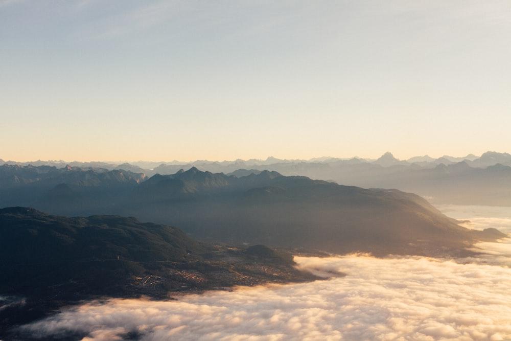 white seaclouds on mountain ridge