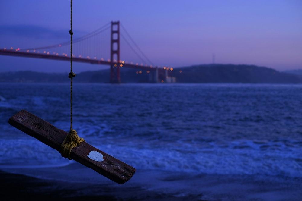 brown wood plank tied by rope hangs near tree overview bridge
