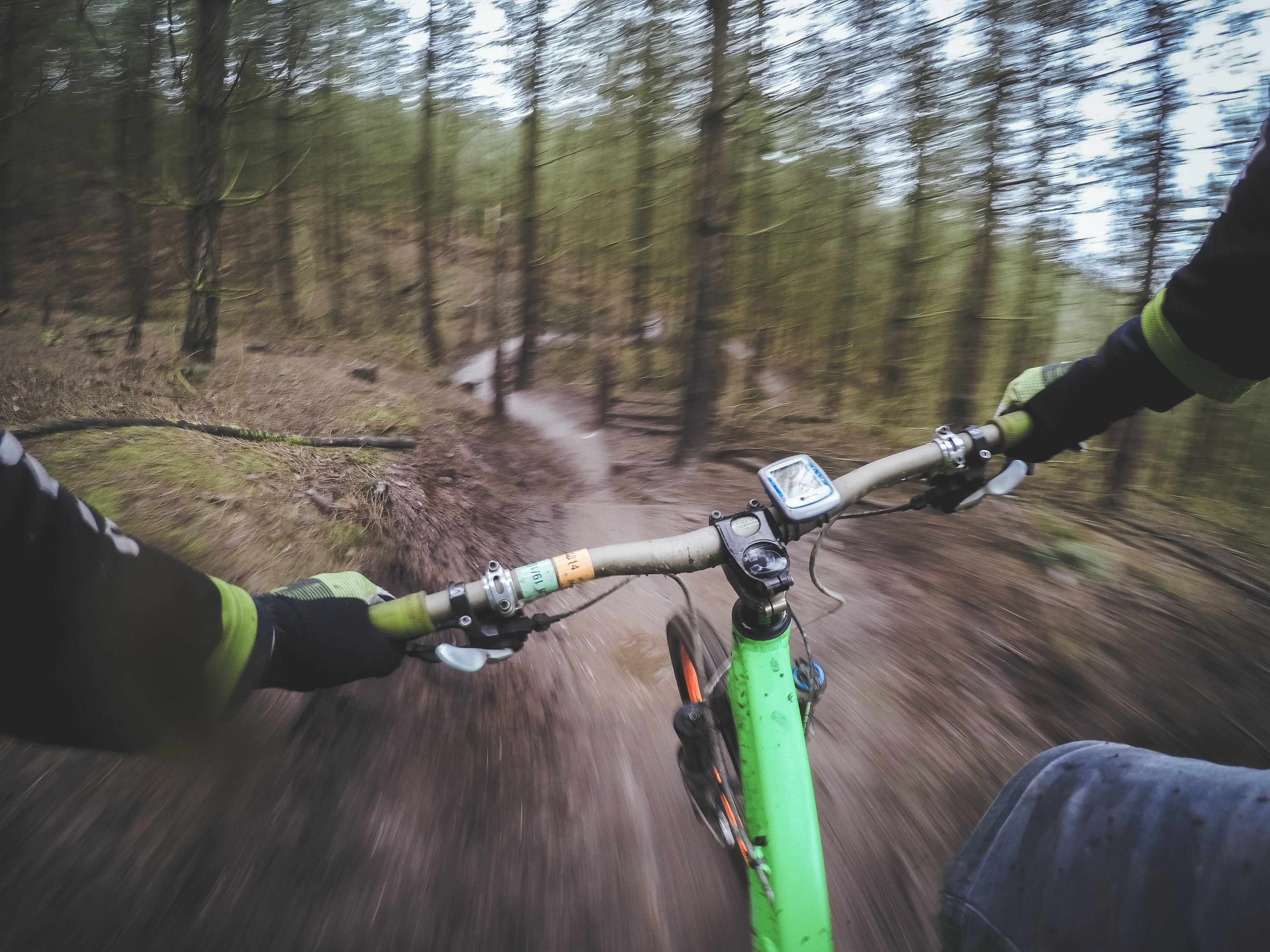 POV shot of the cyclist's hands on the handlebars on a forest trail in Cannock.
