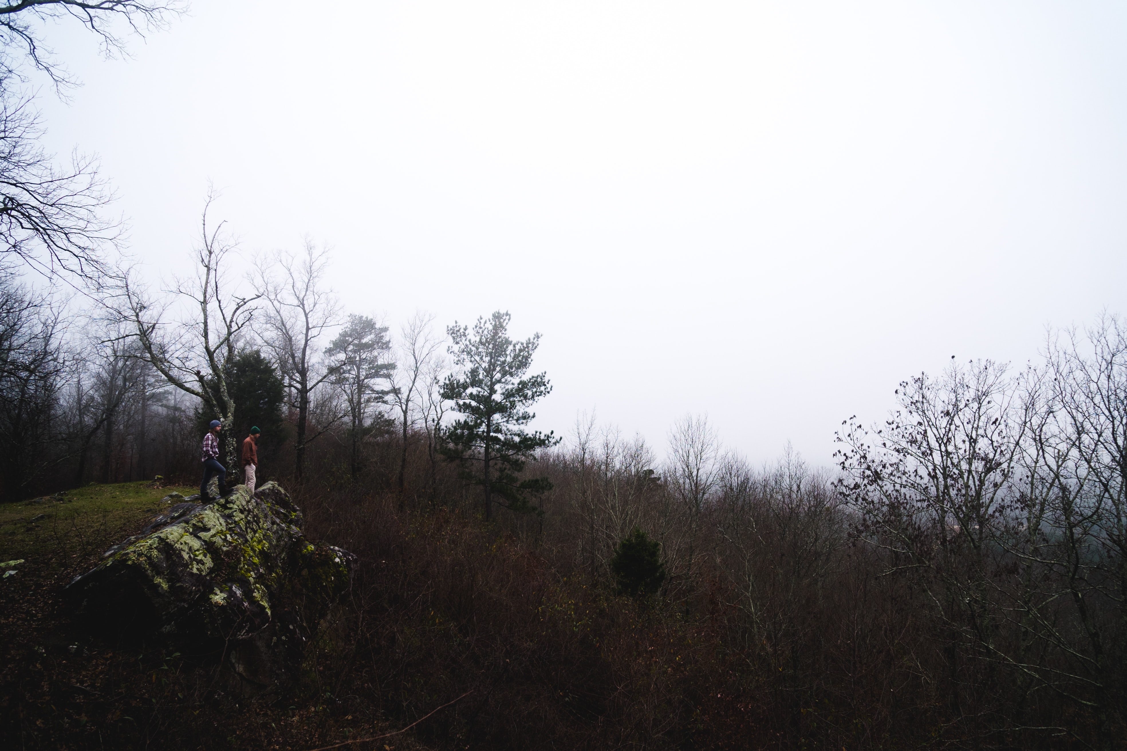 Two people on a mossy rock overlooking dry shrubs in Oak Mountain State Park